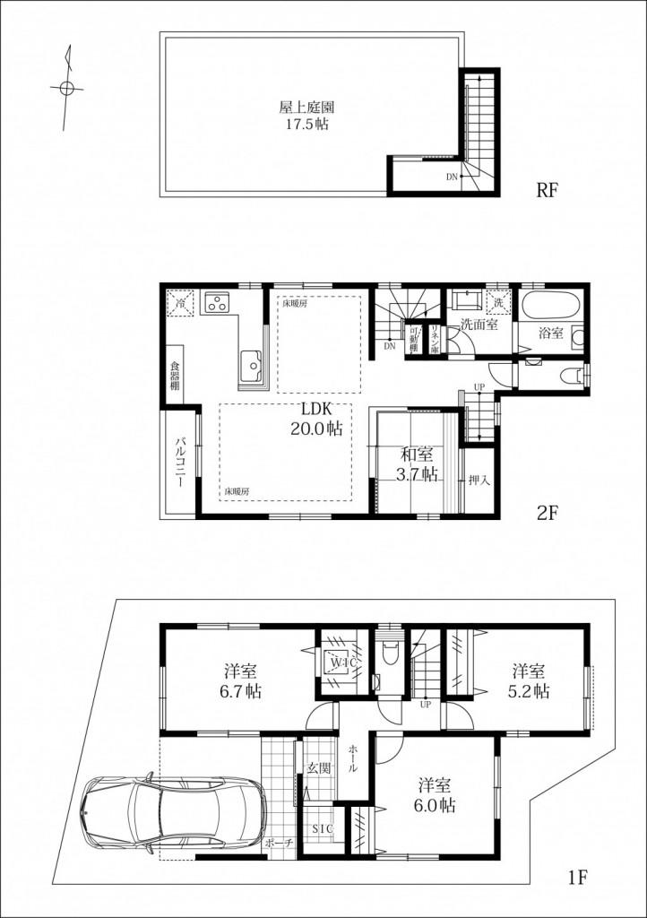 内装は白を基調としてキッチン壁にはサブウェイタイルを採用したカフェスタイル。(間取)